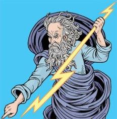 God Thor Throwing Lightening Bolt